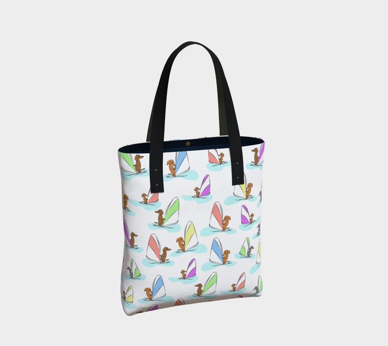 Daring Dachshund Windy Dachs Lined Tote Bag