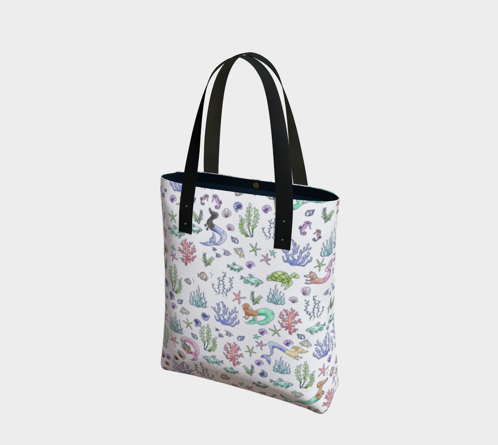 Daring Dachshund lined mermaid dachshund art tote bag