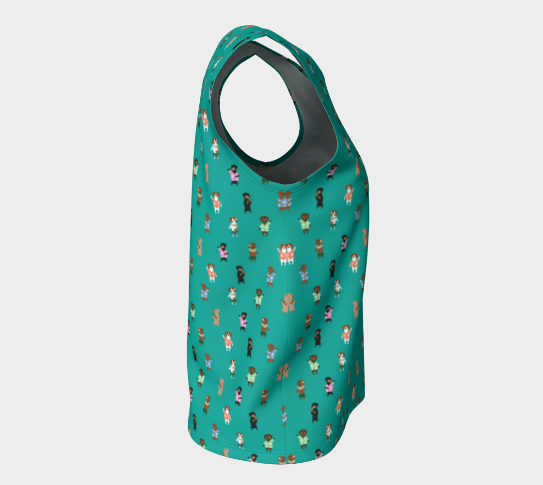 Teal Hula Dox Shell Top - Long - Daring Dachshund
