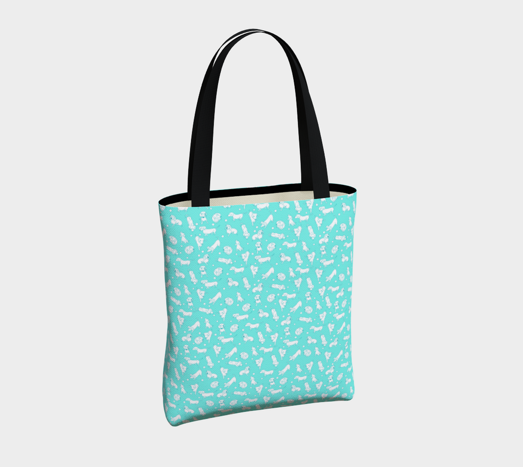 Daring Dachshund playing dachshunds art tote bag