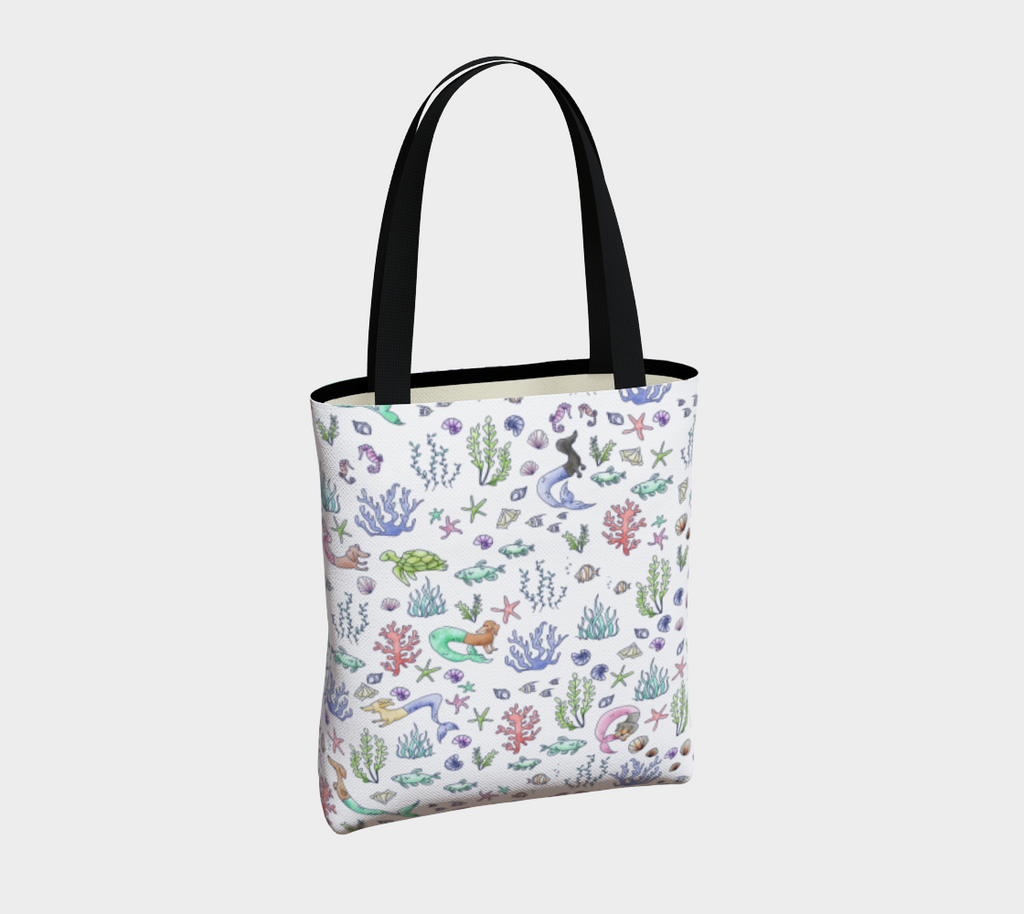 Daring Dachshund mermaid dachshund art tote bag