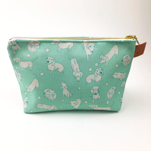 Aqua Weens Travel Case Cosmetic Bag - white dachshunds on an aqua background.