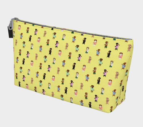 Yellow Hula Dox Cosmetic Bag - Daring Dachshund