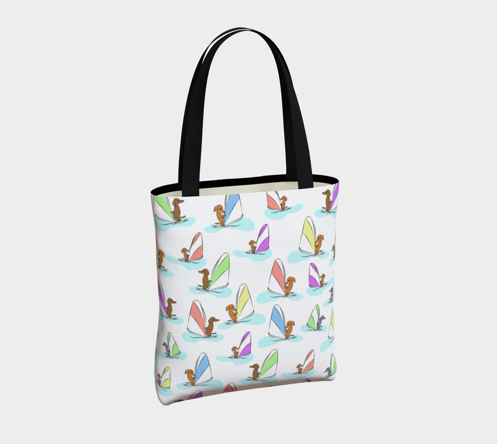 Daring Dachshund Windy Dachs Tote Bag