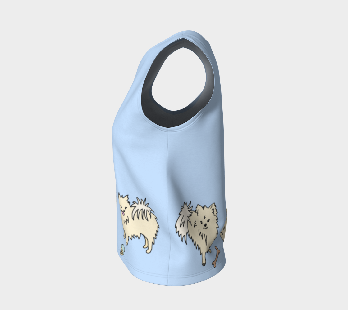 Pomtastic Shell Top - pomeranians on a powder blue background.