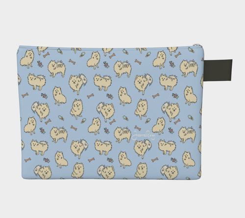 Pomtastic On the Go Bag - clutch - pomeranians on a powder blue background.