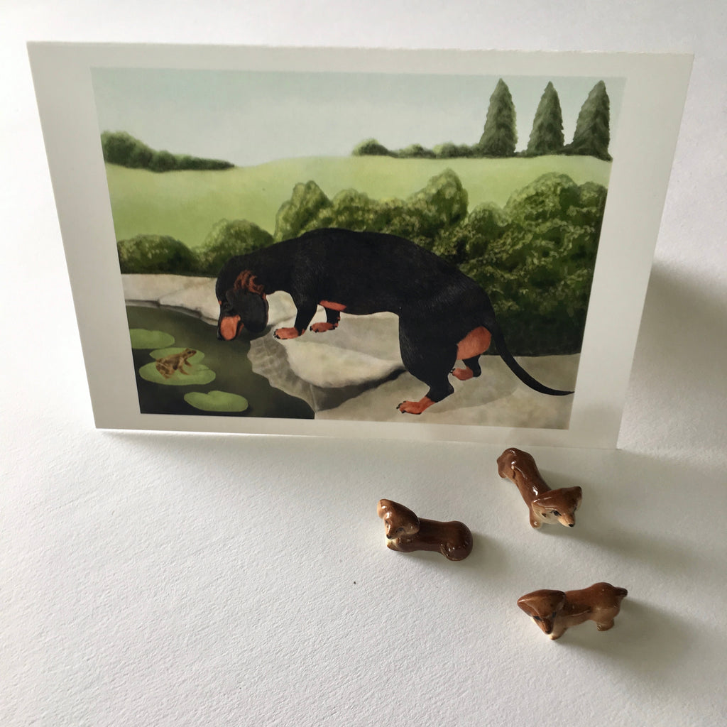 Froggy Friend 5x7 Dachshund Art Card