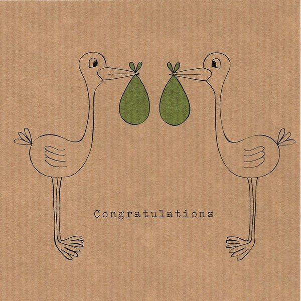 Congratulations Twins Card - Two Storks