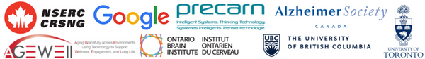 NSERC, Google, Precarn, Alzheimer's Society, Ontario Brain Institute, and the AGE-WELL Networks of Centres of Excellence (NCE), University of Toronto, University of British Columbia