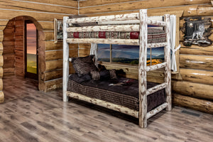 Rustic Montana Log Bunk Beds Natural Finish