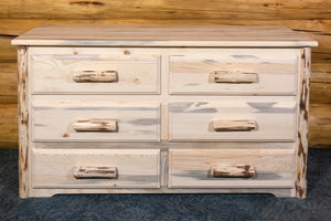 Rustic Wood Dressers Pine Log Chest Drawers
