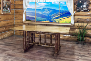 6 Foot Rustic Log Dining Tables - Stained and Varnished