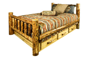 Log Storage Bed with Drawers AMISH MADE Rustic Lodge Furniture