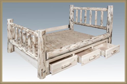 Log Storage Bed with Drawers Natural Finish AMISH MADE Rustic Lodge Furniture