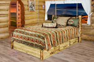 Log Platform Bed with Storage Drawers AMISH MADE Rustic Lodge Furniture