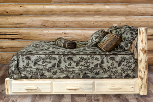 Rustic Log Platform Bed with Storage Drawers AMISH MADE Natural Finish