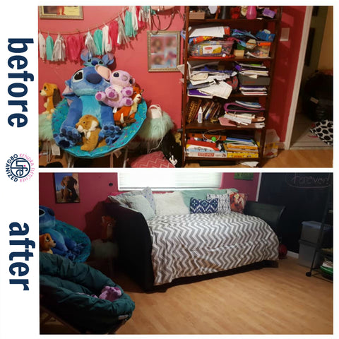 Girls Bedroom Organization Before and After