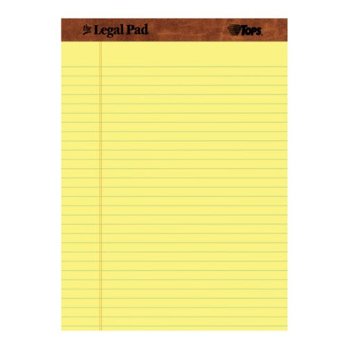 TOPS The Legal Pad Legal Pad, 8-1/2 x 11-3/4 Inches, Perforated, Canary, Legal/Wide Rule, 50 Sheets per Pad, 12 Pads per Pack (7532)