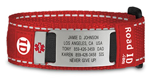 Road ID Medical Alert Bracelet - the Wrist ID Sport and Medical Alert Badge - Personalized Medical ID Bracelet and Child ID - Fits Adults & Kids