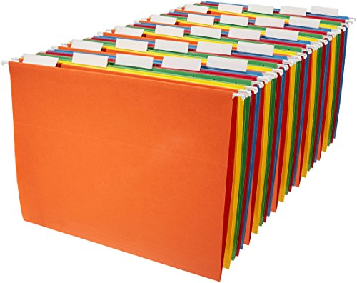 AmazonBasics Hanging File Folders - Letter Size (25 Pack) - Assorted Colors