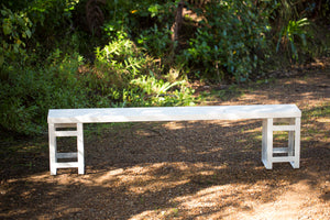 White Wooden Bench Seats