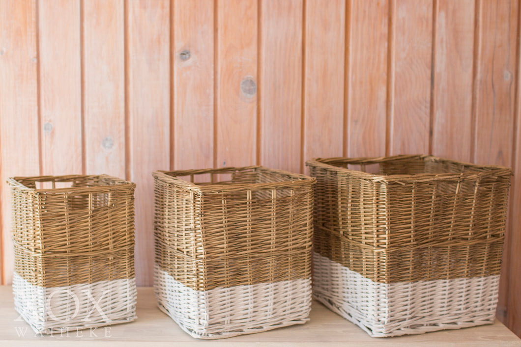 Set of 3 Square Baskets with white trim