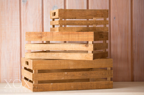Set of 3 Rustic Wooden Crates