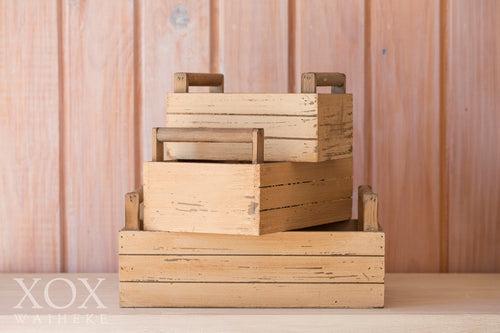 Set of 3 Rustic Wooden Boxes with Handles
