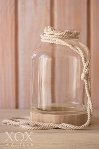 Glass Jug on wooden base (with or without rope)