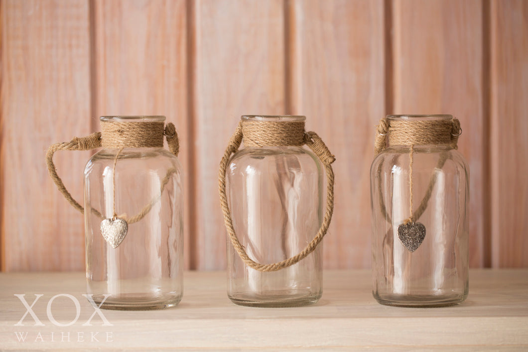 Hanging Jars with rope handles - medium