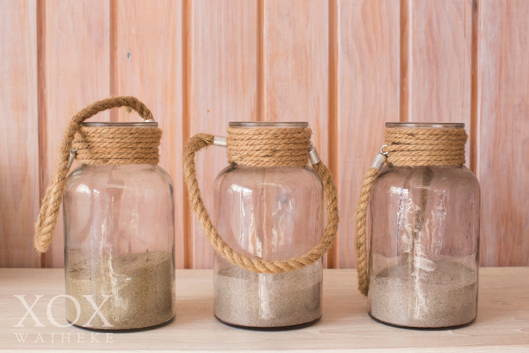 Hanging Jars with rope handles - large