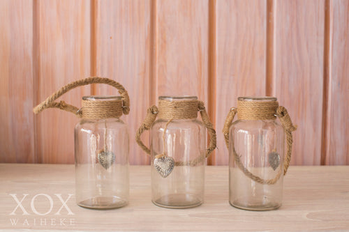 Hanging Jars with rope handles - small