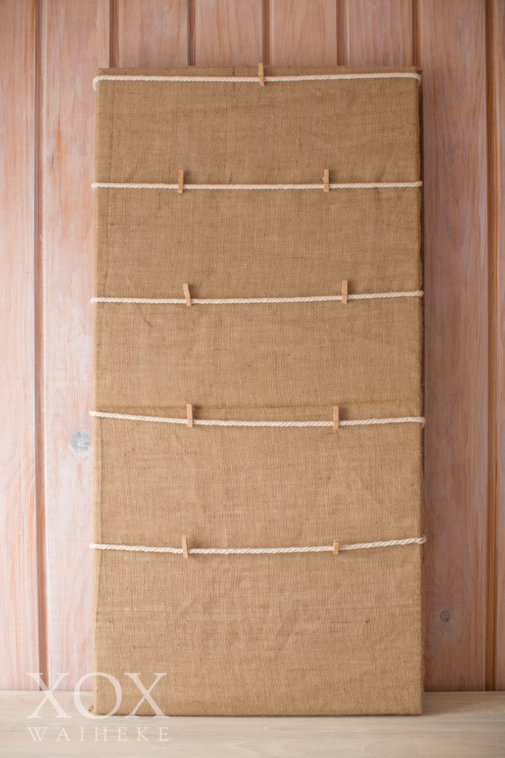 Hessian covered Canvas with Pegs