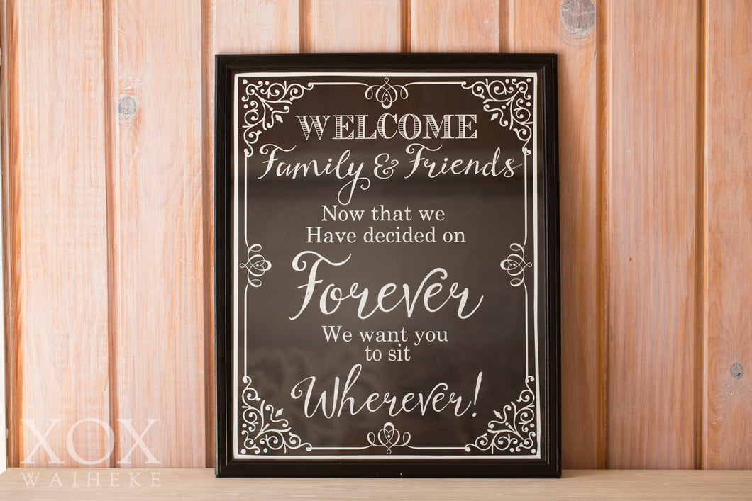 "Sign ""Welcome"" Seating Phrase Framed"