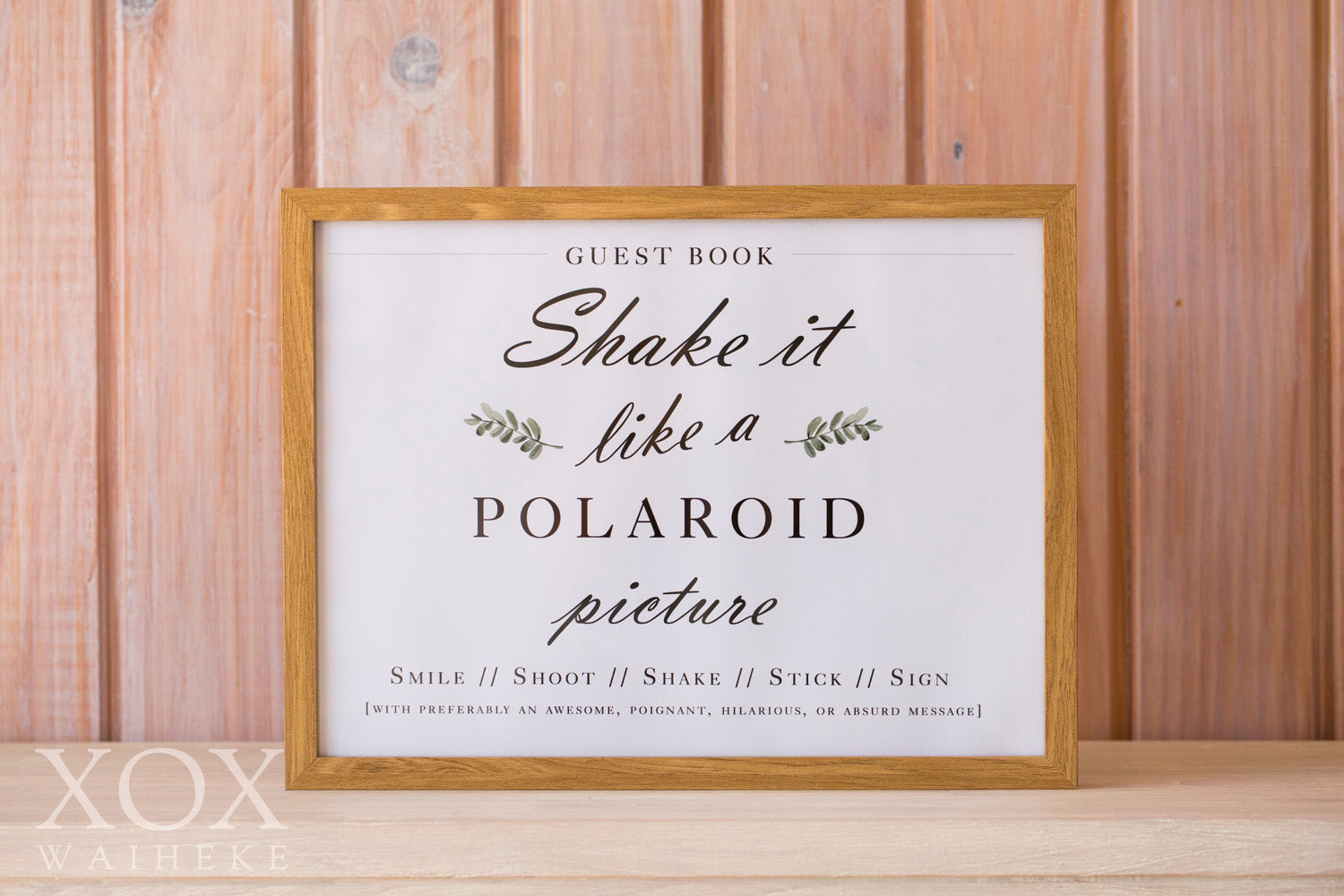 """Shake It Like A Polaroid Picture"""" Guest Book Frame – Waiheke Event Hire"""