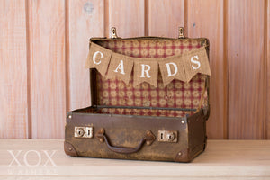 Small Brown Suitcase with Cards Bunting