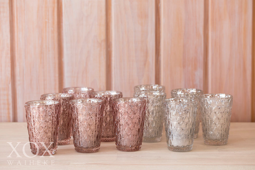 Votives Tall Pink & Silver