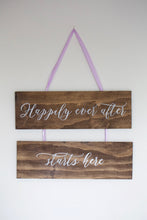 "Wooden Hanging Sign ""Happily"""