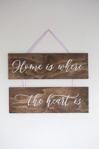"Wooden Hanging Sign ""Home"""