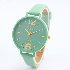 Quartz Watch with Thin Leather Wristband