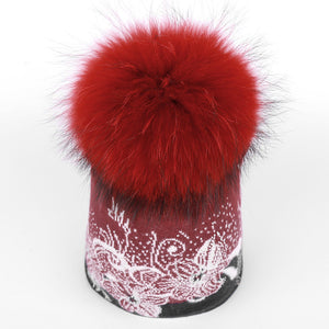 Wool Hat with Flower Pattern and Pom Pom