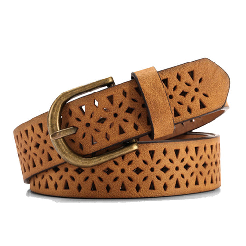 Brown Hollow Patterned Belt