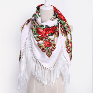 Cotton Scarf with Vivid Russian Style