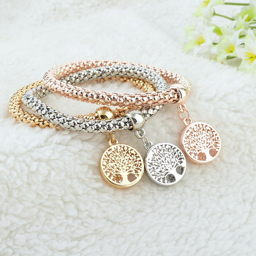3 Colors Multilayer Tree of Life Charm Bracelet