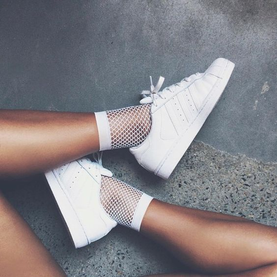 White Ankle High Fishnet Socks