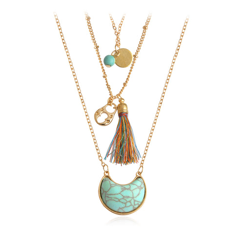 3 Layer Necklace with Tassels and Pendant Stone