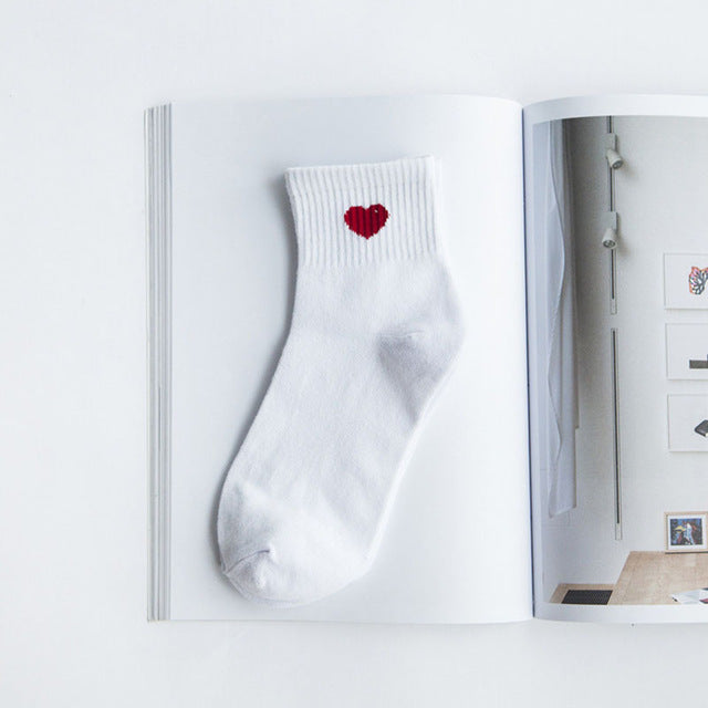 College Socks with Red Heart