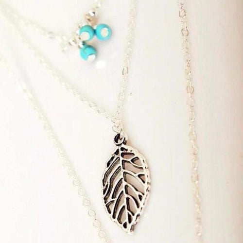 3 Layer Necklace with Leaf Pendants