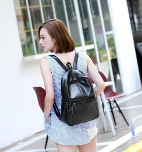 Black Leather Backpack with Minimal Design
