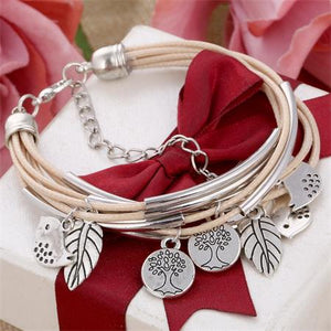 Leather Bracelet with Small Charms